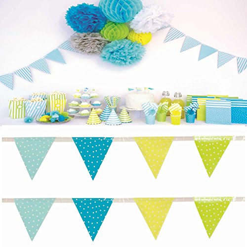 JaBaDaBaDo Wimpelkette blau grün Wimpel Girlande Geburtstag Party 3 Meter