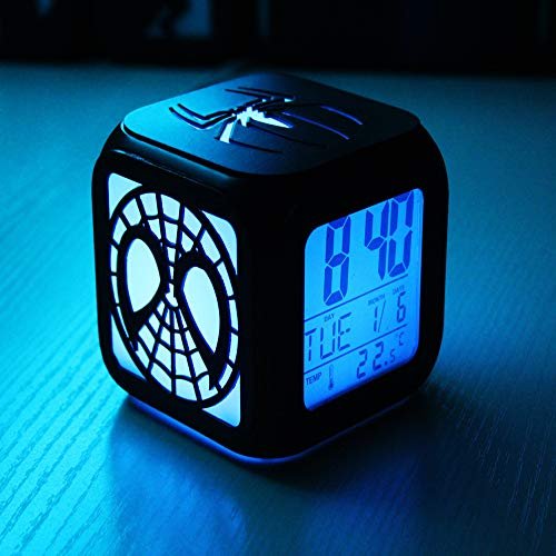 Creative 3D Stereo Small Alarm Clock Led Night Light Electronic Clock Bedside Clock Black Shell. Battery Box Version 8.8 * 8.8 * 8.8Cm Stereo-wetter-gehäuse