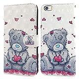 Ailisi Cover iPhone 5/5S/SE, 3D Flip Cover Cartoon Cute Love Heart Teddy Bear Custodia Protettiva Caso Libro Pelle PU con Portafoglio, Funzione Supporto, Chiusura Magnetica