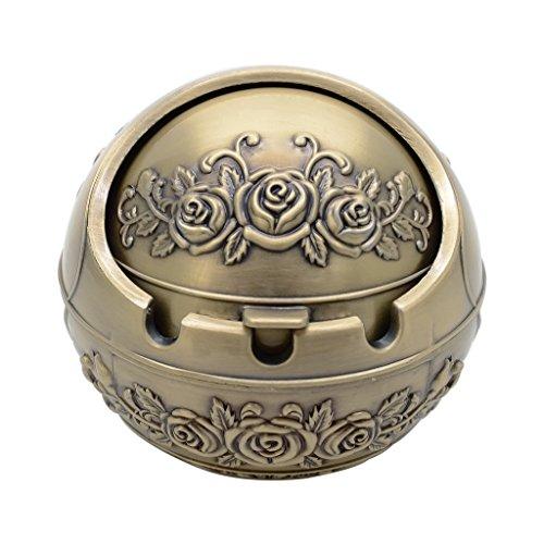 TOWOMO Mini Runde Aschenbecher aus Metal für Draußen, Windaschenbecher mit Deckel, ØxH=8,5x7,5cm (Rose, Antike Bronze)