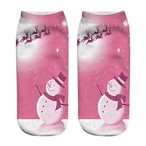 Oliviavan Weihnachtsstrümpfe Socken Winter Damen Kinder Unisex Christmas Süß 3D Mode Casual gedruckt Niedliche Low Cut Söckchen Süß Tiermuster