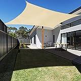 Ankuka 2m x 3m Tenda a Vela, Rettangolo Tendalino Vele Parasole da Giardino, Protettiva dal Sole Raggi 98% UV, Resistente ed Elastica, Sabbia