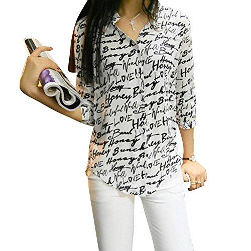 LaoZan Donne Camicetta Camicia Tunica Collare con Maniche Mi Lungo Portato a Lavorare Color 3 Medium