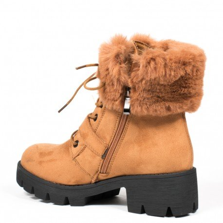 Ideal Shoes - Bottines montantes effet daim avec col fourré Madine Camel