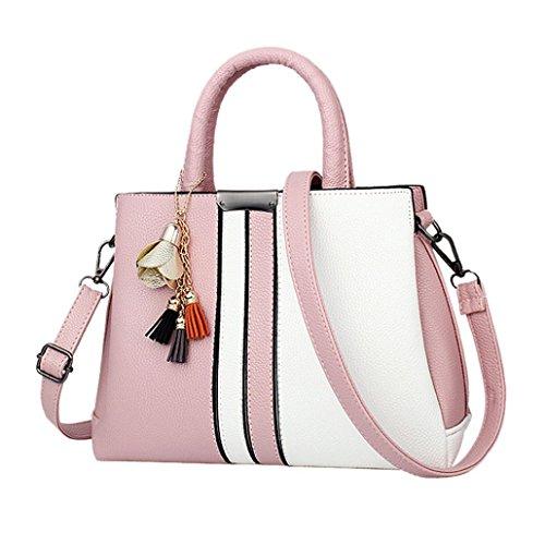manadlian Schulter Tasche Handtasche Damen Mode Frauen Rose Quasten Umhängetasche Messenger Schultertasche Leder Handtasche (Rosa)