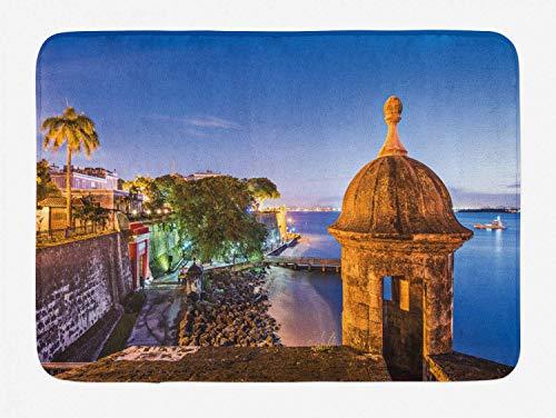 LiminiAOS Puerto Rico Badematte, Retro-Stil Küste der architektonischen Elemente Paseo de la Princesa Fotografie, Plüsch Badematte mit Rutschfester Basis, Mehrfarbig