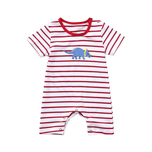 Styledress Baby Kleidung Set Strampler Overall Sommer Neugeborenes Baby Mädchen JungenDinosaurier-Spielanzug-Overall Jumpsuit Outfits Spielanzug Kleider Set (rot, 0-6 Monate) (Baby-kleidung Neugeborenen Rot)