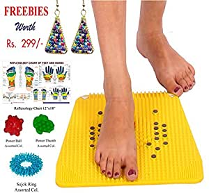 RELIEF Acupressure Mat with Magnets Pyramids for Pain Relief and Total Health Size 12x12.5 Inches with FREE Power Ball, Power Thumb, Su-Jok Ring & Reflexology Chart for Hand & Feet Worth RS. 176/-