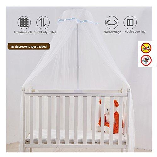 Mosquitera para Cuna Cama de Niño Bebé Dosel para Cuna Anti Zanzara Insectos y Polvo con Soporte (cinta azul)
