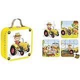 Janod - J02886 - Valisette 4 puzzles Tracteur Peter