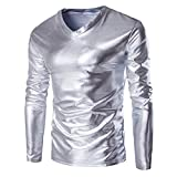 SOMESUN Langarmshirts Herren Strickpullover Metallisch Glänzend Nass Aussehen Lange Ärmel T-Shirt oben Slim Fit V-Ausschnitt Bluse Metallic Shiny Wet Look Long Sleeve T-shirt Top (Silber, XXXXL)