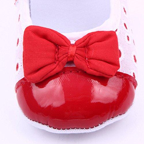Bigood Chaussure Bébé Fille Princesse Ballerina Nœud Papillon Souple Rouge