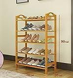 YGracks Hölzern Natürlicher Bambus-Schuh-Rack, Einfacher mehrstöckiger Schuhschrank, Mehrzweck-Regale, Bodenmontierter Montagerahmen (Größe : 70cm)
