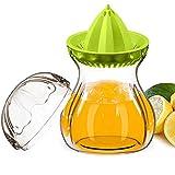 Zitronenpresse, Limettenpresse, Manuelle Saftpresse Behälter Set mit Deckel für Orangen Zitrone, BPA frei sicher für Gefrierschrank und Spülmaschine,Tritan (0,60 Liter, Grün)