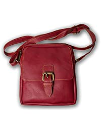 : Flux Leather Girls Ladies Casual Travel Smart Red Shoulder Sling Bag Colour: Red