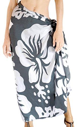 Hibiskus palmate La Leela glatt Rayon Pareo Wrap Sarong 78x43in grau vertuschen (Kleid Sarong Hibiskus)