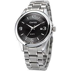 COMTEX Men's Quartz Wrist Watch with Black Dial Analog Display and Stainless Steel Bracelet Dress Watch