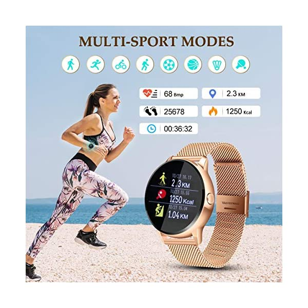 EIVOTOR Smart Watch Sport Fitness Activity Tracker Pulsera Pantalla conectada Touch Podometer Climate Alarm Clock para… 4
