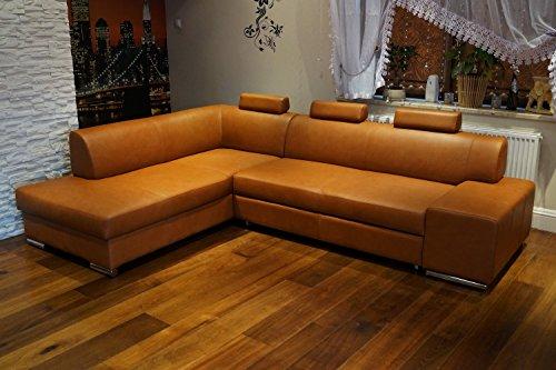 Quattro Meble Cognac Farbe Echtleder Ecksofa London II 3z 275 x 200 Sofa Couch mit Bettfunktion, Bettkasten und Kopfstützen Braun Glatt Echt Leder Venice Cognac Eck Couch große Farbauswahl