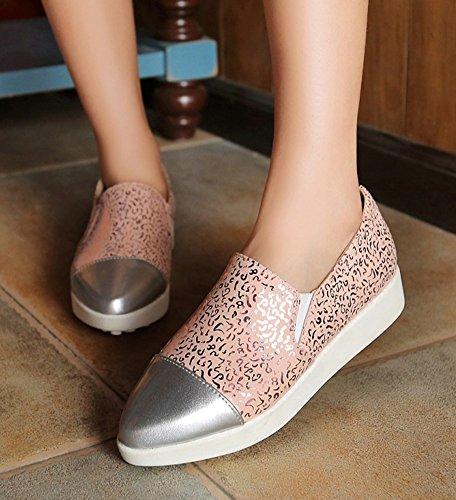 Aisun Damen Modisch Mustern Spitz Zehen Keilabsatz Kurzschaft Fashion Sneakers Pink