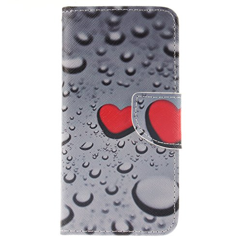 Price comparison product image For iPhone 6/ 6S Leather Flip Case Cover,Meet de Painted pattern PU Leather Stand Function Protective Cases Covers with Card Slot Holder Wallet Book Design,Soft TPU Silicone Inner Bumper Full Protection Cover Detachable Hand Strap for iPhone 6/ 6S - Love water drops