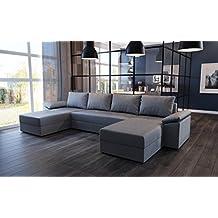 7e55929b0d136 tendencio Canapé d angle panoramique en U Convertible Dallas en Tissu Gris  avec Coffre