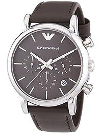 Emporio Armani  0 - Reloj de cuarzo para hombre, con correa de cuero, color marrón