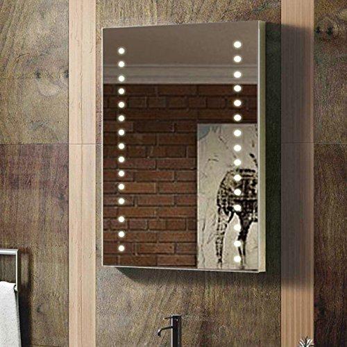 Enki LED-Wand-Spiegel, hintergrundbeleuchtet, vertikale und horizontale Aufhängung, 400 x 600 mm, Badezimmer-Spiegel