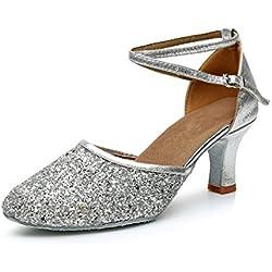 VASHCAMER - Zapatos de Baile de Tacón para Mujer Plata 37