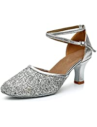 VASHCAMER - Zapatos de Baile de Tacón para Mujer