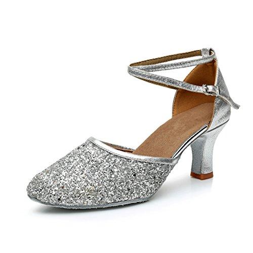 VASHCAMER - Damen Tanzschuhe Hoher Absatz Standard/Latein/Ballsaal 7CM Silber