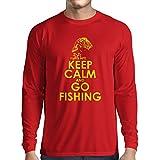 Camiseta de Manga Larga para Hombre Ropa de Pesca, Regalo Gracioso Pescador, Citas de Humor (Medium Rojo