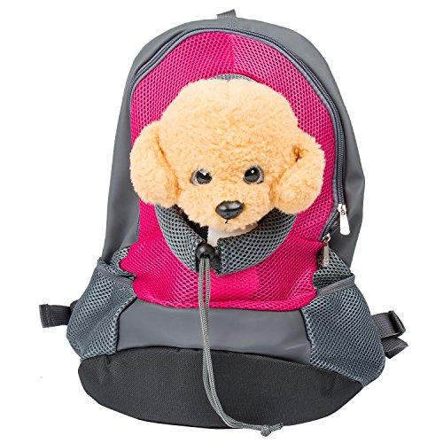 Bigwing style zaino per cane borsa trasportino marsupio di cintura regolabile e gancio per il collare comoda bella e molto pratica per cane gatto rosa l