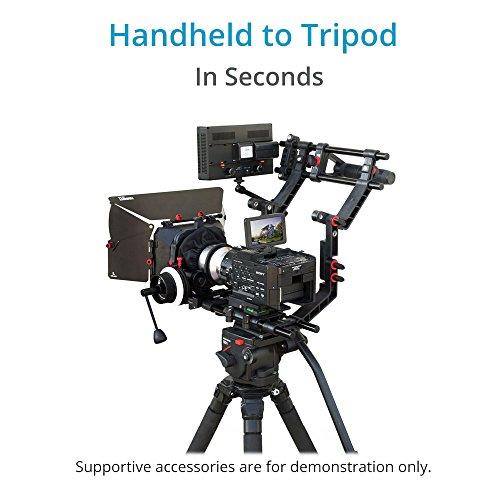 FILMCITY Schulterstütze Mount Rig Kit mit Kamera Cage, Matte Box und 15mm Aluminium Stangen für DSLR Videokameras + Stativ kompatibel (FC-02)