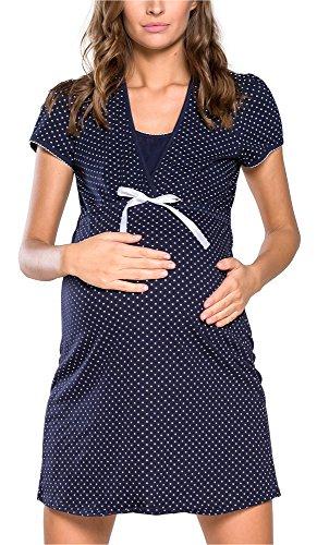 Italian fashion if camicia da notte premaman j4j 0114 (blu scuro, m)