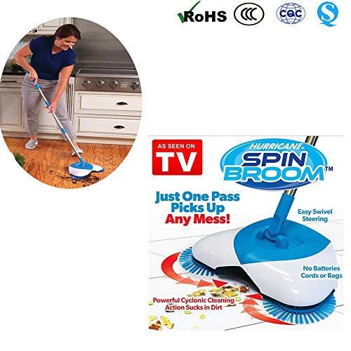 Spin Broom, Hand Push Kehrmaschine Besen 360 Grad Rotary einstellbarer Handgriff ohne Strom Haushalt Besen Kehrmaschine