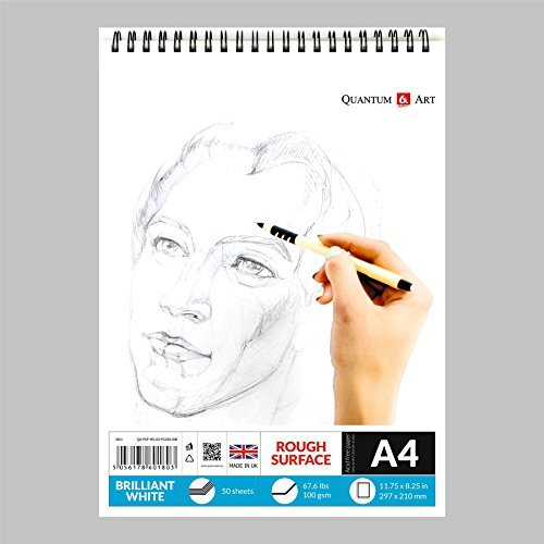 A4 Sketch Pad White Drawing Artist Paper on Spiral Book - 50 sheets - 100 pages