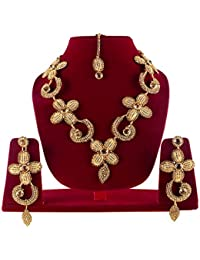 Wedding Collection Gold Plated Necklace, Earring & Mangtika For Women & Girls / Bridal Jewellery Sets For Wedding...