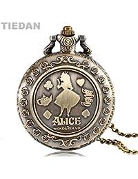 TIEDAN BRAND Hot Selling Alice In Wonderland Design Retro Quartz Pocket Watch Bronze Vintage Antique Fob Watches...