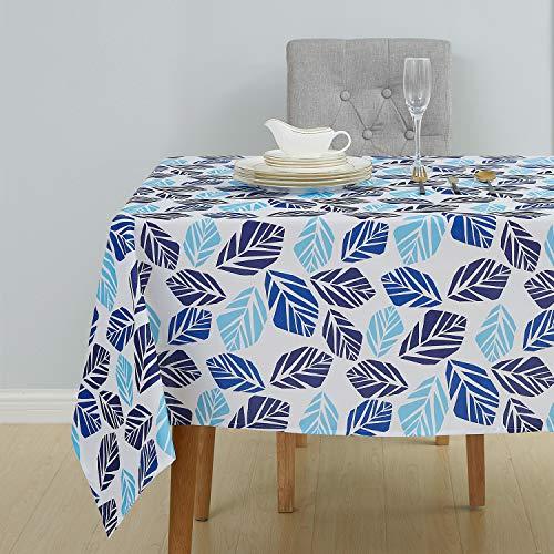 Deconovo Mantel de Mesa Rectangular Tela Oxford para Cocina Comedor Salón Restaurante 137 x 200 cm Azul