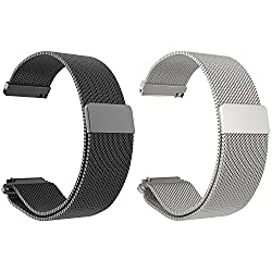 Set Of 2 Turnwin Replacement Metal Milanese Loop Bands For Fossil Q Nate Gen 2 Hybrid Smartwatch (Black+silver)