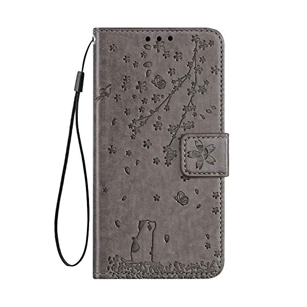 Uposao Compatible with Huawei Honor 20 Case Leather Wallet Cover Cherry Flower Cat Embossed Pattern Shockproof Flip Case with Card Holders Magnetic Closure Stand Lanyard,Gray Uposao Compatible Model: Huawei Honor 20 Package:1 x Wallet Case Cover,1 x Black Stylus Touch Pen Provides optimal protection from everyday bumps, knocks, drops, chips, dirt, scratches and marks without adding bulk to your phone and ensures that your device remains protected, safe and secured at all times. 6