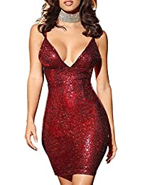 quality design 0ab61 2d598 Amazon.it: Elegante con Paillettes - Rosso / Vestiti / Donna ...