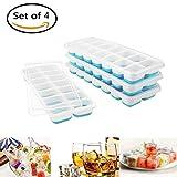 Eiswürfelform, ToWinle Eiswürfelform Silikon Eiswürfelbehälter Eiswürfel Eiswürfelbox (4 blaue Eiswürfelform)