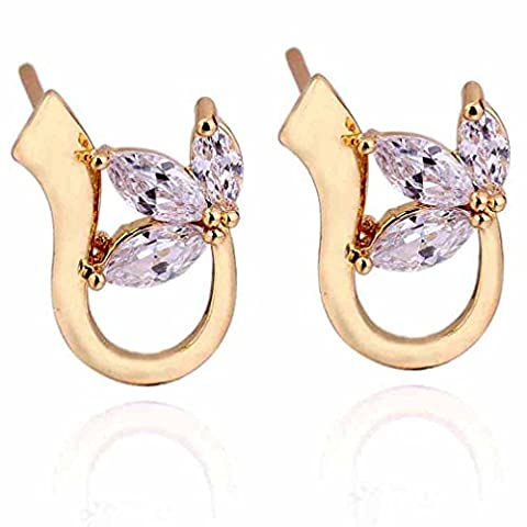 18K Gold ¨¹berzogene Yazilind Charming Marquise Clear Cut Zirkonia -Blatt-Entwurf Stud Mini Ohrring-Frauen
