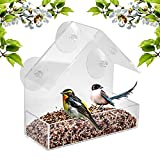 Window Bird Feeder - Built To Last A Lifetime - Decorate Your House with Beautiful Wild Birds - 100% Clear Acrylic Plastic with 3 Strong Extra Suction Cups Included - Great Gift Idea for Nature Lovers
