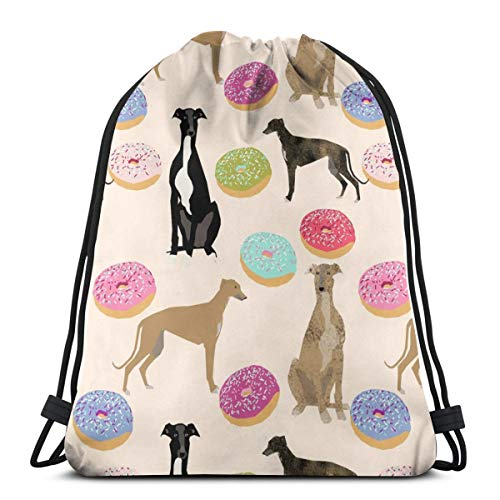 Nicegift Greyhound Dogs Donuts Cute Dog Design Rescue Dogs Lightweight Drawstring Bag Sport Gym Sack Bag Backpack 17 X 14 Inch -