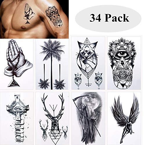Wasserdicht Temporäre Tattoos Fake Tattoos Body Art Tattoo Aufkleber Schwarz Transfer Tattoos für Arme Schultern Brust Rücken Beine,34 ()
