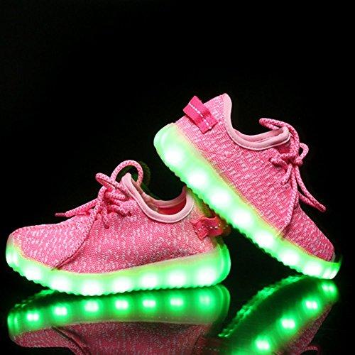 Kidslove® Led schuhe kinder Ledschuhe LED Sportschuhe Kinder USB Aufladen 7 Lichtfarbe Leuchtend Kinderschuhe Sneaker Turnschuhe für Jungen Mädchen Pink