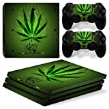 Sony PS4 Playstation 4 Pro Skin Design Foils Faceplate Set - Cannabis 2 Motif